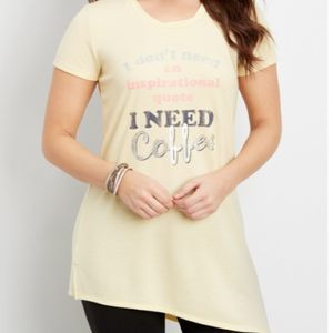 Maurices Asymmetrical Hem Coffee Graphic Tunic Tee